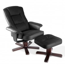 Pu Leather Wood Arm Chair Recliner - Black