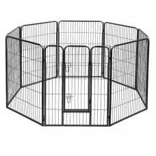 8 Panel Portable Pet Playpen - Black
