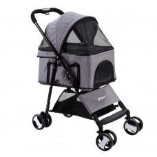 I.pet Pet Stroller Dog Carrier Foldable Pram 3 In 1 Middle Size Grey