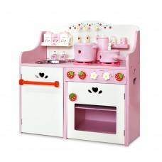 Children Wooden Kitchen Play Set Pink