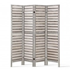 Four Panel Room Divider - Light Grey