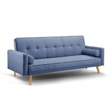 3 Seater Faux Linen Fabric Sofa Blue