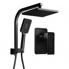 Wels Square 8 Inch Rain Shower Head & Mixer Set Handheld Spray Bracket Rail Mat Black