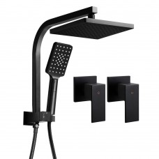Wels Square 8 Inch Rain Shower Head & Taps Set Handheld Spray Bracket Rail Mat Black