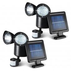 2x 22 Led Solar Powered Dual Light Security Motion Sensor Flood Lamp Outdoor