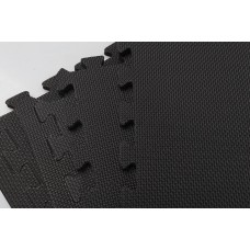 4 Tiles Eva Fitness Home Yoga Gym Interlocking Floor Puzzle Mat - Black