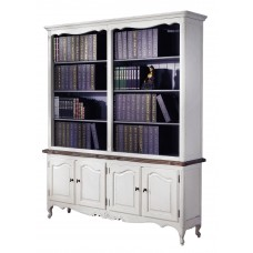 French Provincial Buffet and Open Hutch Sideboard Dresser Bookcase in White