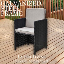 Set of 2 La Joie Outdoor Living Havana Modular Dining Chair Furniture Wicker Rattan Steel Frame