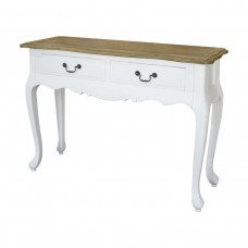 French Provincial Classic White 2 Drawer Console Hallway Table with Oak Top