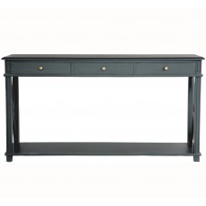 Hamptons Halifax Side Cross Drawers Console Hall Table Furniture Black
