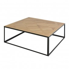Detroit Industrial Loft Parquet Oak Square Coffee Table with Iron Base