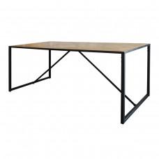 Detroit Industrial Loft Parquet Oak Trestle Table Dining Table with Iron Base