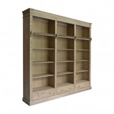 French Provincial Hamptons Open Library Bookcase with Ladder Natural Oak