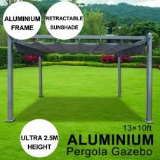 13 x 10ft Aluminum Pergola Gazebo With Sliding Retractable Shade