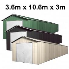 Roller Door Garage Shed 3.6m x 10.64m x 3.07m