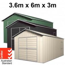Garage 6m x 3.6m x 3m Double Barn Door Workshop Shed EXTRA High 4 Frames