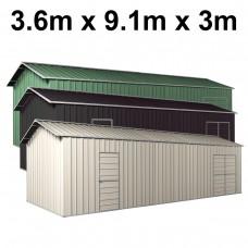 Colour Range - Garage Workshop Shed 3.6m x 9.12m x 3m Side Double Doors