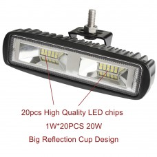 Pair 6inch 20w Led Work Driving Light Bar Ultra Flood Beam Lamp Reverse Offroad