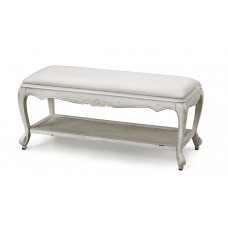 French Provincial Classic White Bed End Stool