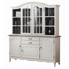 French Provincial Glass Display Buffet and Hutch Kitchen Dresser Cabinet