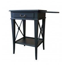 Hamptons Cross Black Bedside Lamp Table with Drawer Right Handle