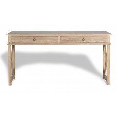 Hamptons Halifax Side Cross Console Hall Table/ Study Desk in Natural Oak