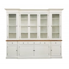 Hamptons Buffet Sideboard Glass Doors Hutch Bookcase in WHITE