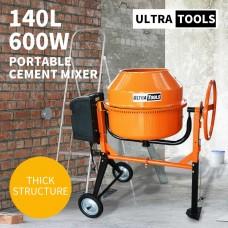 Ultratools Cement Concrete Mixer 140L Sand Gravel Portable 600W Motor Size