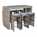 Tahiti 7 Piece 6 Seater Outdoor Bar Set Furniture Rattan Steel Frame Table Stool