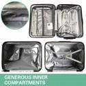 La Joie Hard Luggage Case 20 Inch 1PC Travel Suitcase White Black Silver