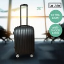 La Joie Hard Luggage Case 20 Inch 1PC Travel Suitcase White Black Silver