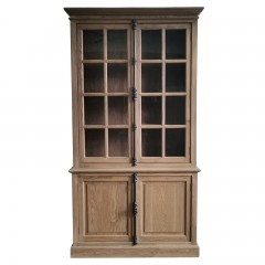 French Provincial Casement Double Glass Door Display Buffet and Hutch Cabinet