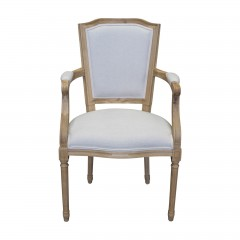 French Provincial Set of 2 Louis Linen Back Upholstered Dining Arm Chair Natural Oak