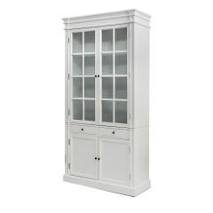 French Provincial Glass Display Cabinet /Bookcase in White