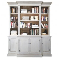 French Provincial Furniture Bookcase Cabinet White Distress