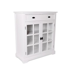 Hamptons Halifax Kitchen 2 Drawer Buffet Cabinet with Glass Door Sideboard