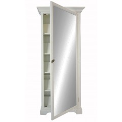 French Provincial Furniture Poplar Wood MIRROR SHOE CABINET Vintage Pearl White