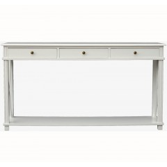 Hamptons Halifax Side Cross 3 Drawers Console Hall Table Furniture in White