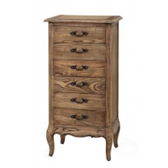 French Provincial 6 Drawers Tallboy Cabinet - Natural Oak