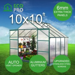 EcoPro 6mm Greenhouse 10 x 10ft 2.70m Height