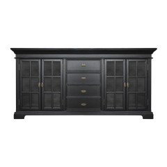 Hamptons Halifax Large Kitchen Cabinet With Glass Door and Drawers