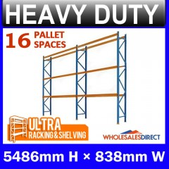 ULTRA Pallet Racking 5486mm 16 Space Package - Dexion Compatible