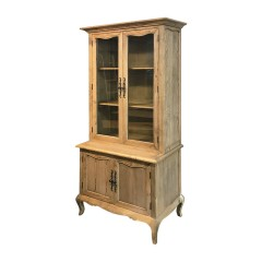 French Provincial Furniture Display Cabinet Cupboard in Natural Oak