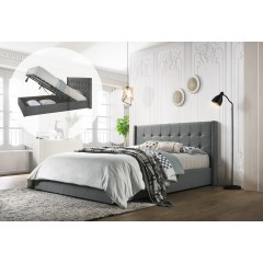 Queen Sized Winged Fabric Bed Frame With Gas Lift Storage In Light Grey