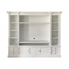 Hamptons Coastal WHITE TV Entertainment Wall Unit Cabinet