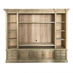 Hamptons Coastal ASH Natural TV Entertainment Wall Unit Cabinet