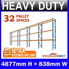 Pallet Racking 4 Bay System 4877mm High 32 Pallet Spaces