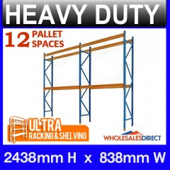 Pallet Racking 2 Bay System 2438mm High 12 Pallet Spaces