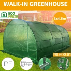 Greenhouse EcoFresh Walk in Greenhouses 4.5m x 3m x 2m Strong Galvanised Frame