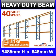 Pallet Racking 5 Bay System 5486mm High 40 Pallet Spaces